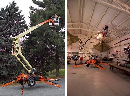 JLG T350 Towable Bucket Lift used for tree trimming and in aircraft hanger