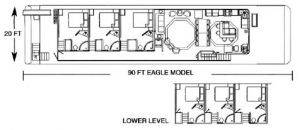 Floor Plan of 90ft Eagle Boat for Rent in Dale Hollow, KY