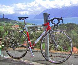 Red and grey road bicycle