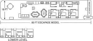 Floor Plan for House Boat Rentals in Burkesville, Kentucky