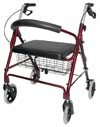 Red Rollator With Hand Brakes and Wire Basket