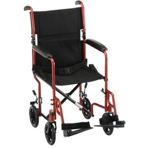 19in Red light weight transport wheel chair