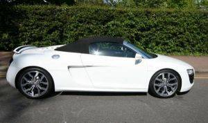 Los Angeles Audi R8 Convertible For Rent-Side View with Top Up