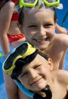 Children wearing snorkel gear