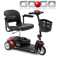 Red and Black Mobility Scooter With Front Basket