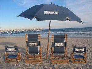 Wrightsville Beach  Wooden Beach Chairs For Rent - North Carolina Beach Equipment Rental