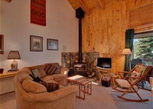 Town Home Rentals Living Room with Fire Place in Lake Tahoe