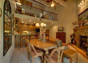 Condo Vacation Rental Loft Overlooking Dining and Living Room in Lake Tahoe