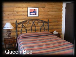 Bedroom with Queen Bed Pioneer Cabin