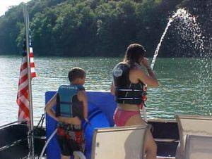 Water cannons on the Southern Star Houseboat Rental in Dale Hollow Lake, Tennessee