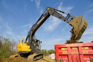 Volvo ECR235C Excavators Cleaning Up Land