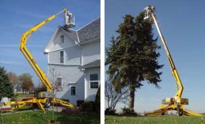 Bill Jax 5533A Towable Boom lift used for trimming large tree