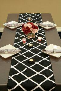 Black Crisscross Table Runner