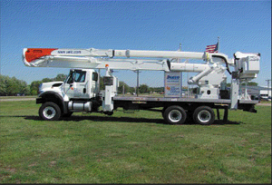 Insolated two man Boom Truck with a maximum working height of  100 feet
