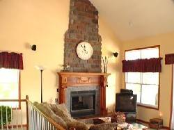 Captains Cottage Family Room with Stone Fireplace