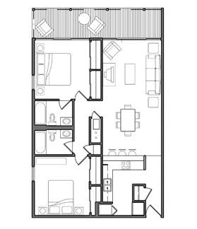 City Scape Two Bedroom Layout