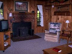 Cabin Creekwood Family Room with Fireplace