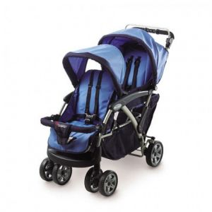 Two Child Stroller With Canopies