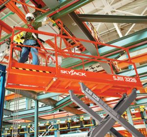 Electric Powered Scissor Lift models for rent from SkyJack