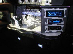 2008 Cadillac Escalade Limo Interior with wet bar and sterio