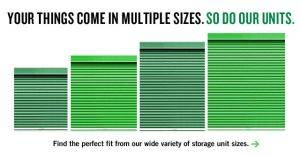 Examples of Storage Unit sizes from Extra Space Storage Facilities