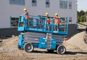 GS-4390 Rough Terrain Scissor Lift moving workers across job site