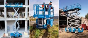 Genie Gas Rough Terrain Scissor Lifts working on Aerial Construction Sites