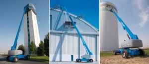 Genie S100 boom lift with over 100 foot reach at work on jobsites