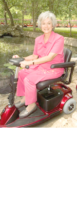 red 3 wheeled scooter