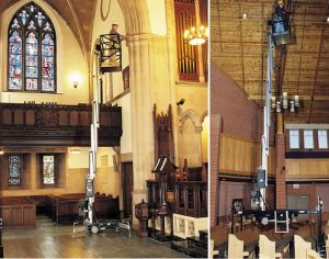 JLG 36AM and 41AM model electric man lifts working in cathedral