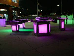 Lighted Casino Game Rentals including Texas Hold Em Tables