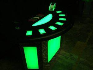 Mobile Lighted Blackjack Table For Rent in Alabama