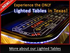 Texas LED Lighted Craps Table For Rent in Dallas