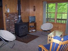 Mountainwood Cabin Family Room with wood stove