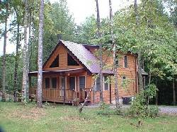 The Bears Den Exterior View of Cabin on wooded lot