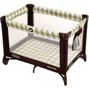 Brown and Plaid Portable Crib