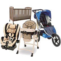 Baby Equipment Package including Stroller, Baby Bed, Highchair, and Car Seat