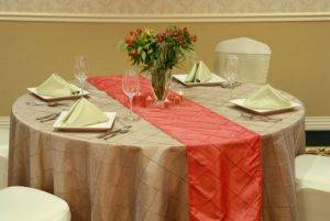 Pintuck Fire Orange Table Runner