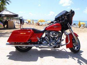 FLHX Red Street Glide Harley Davidson Motorcycle Rental in Honolulu Hawaii