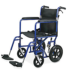blue transport wheelchair with footrest