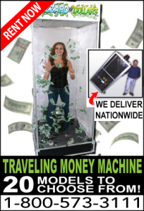 Money Machine Cash Cube hard case rental Las Vegas
