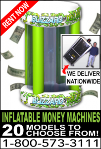 Circular inflatable money machine cash cube rentals Baltimore MD