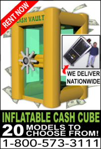 Inflatable money machine cash cube rentals Los Angeles CA