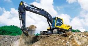Volvo Excavator Working at a Dig Site