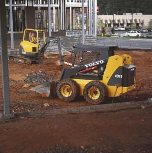 Skid Steer Rental on jobsite with mini excavator moving earth