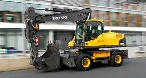 Volvo EC180C Wheeled Excavator Driving on road showing mobility