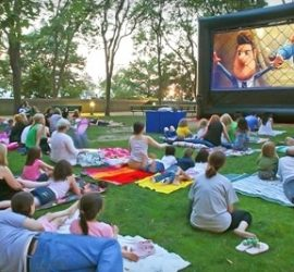 Watching Movie on Outdoor Inflatable Screen