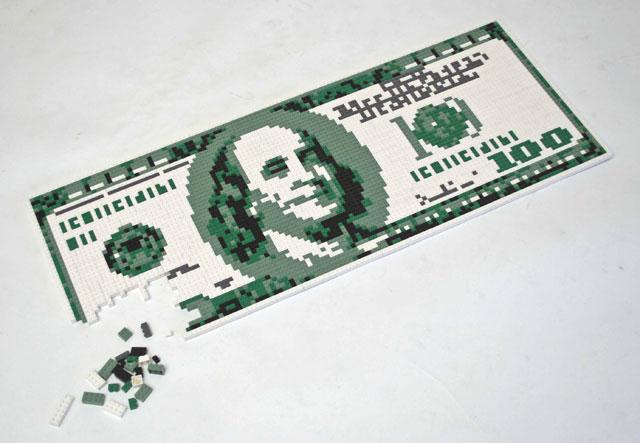 Hundred Dollar Bill Made of LEGOs